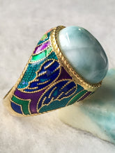 Load image into Gallery viewer, Gold Tone Sterling Silver Larimar Enamel Ring