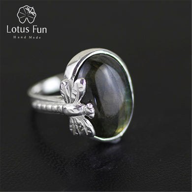 Sterling Silver Labradorite Dragonfly Ring
