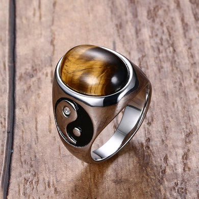 Tiger Eye Yin Yang Stainless Steel Men's Vintage Ring