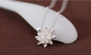Sterling Silver Lotus Flower Necklace Pendant