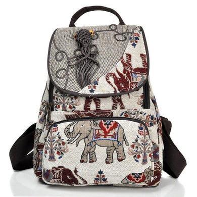 Handrafted  Elephant Embroidered Backpack