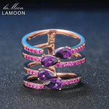Load image into Gallery viewer, Rose Gold Plated Sterling Silver Natural Amethyst Women's Ring