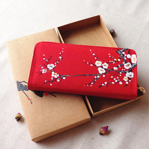 Hand-Painted  Wallet with Cherry Blossom Design