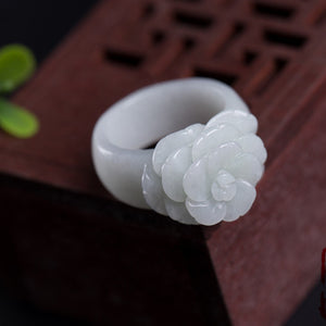 Natural Green Jadeite Ring Hand-carved Rose Ring