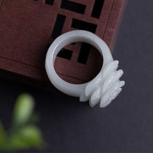 Load image into Gallery viewer, Natural Green Jadeite Ring Hand-carved Rose Ring