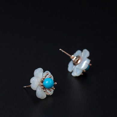Sterling Silver Shell Turquoise Flower Earrings