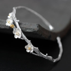 Two Tone Sterling Silver Plum Flower Bracelet