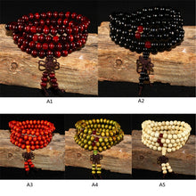 Load image into Gallery viewer, Natural Sandalwood Bracelet Men Buddhist Buddha Meditation Bead Bracelet For Women Prayer 108 Beads Rosary Hanging Decoration