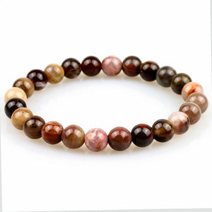 Natural Petrified Wood Fossil Stone Beaded Stretch Bracelet