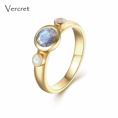 18k Gold Plated Sterling Silver Labradorite and Moonstone Ring