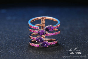 Rose Gold Plated Sterling Silver Natural Amethyst Women's Ring