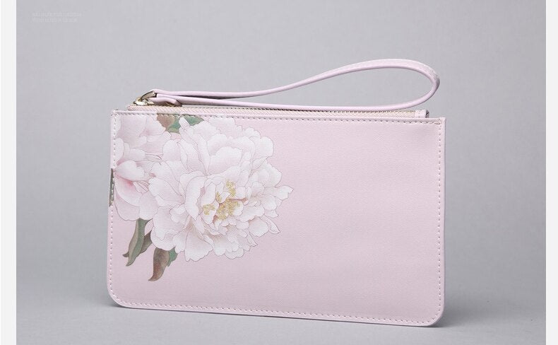 Vintage Style Peony Flower Design Leather Clutch Wallet