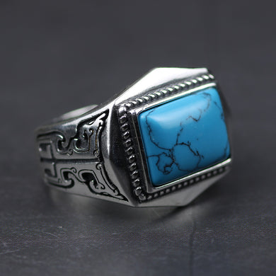 Sterling Silver Turquoise Color Stone Men's Ring