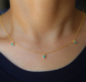Sterling Silver Turquoise Rhinestone Necklace