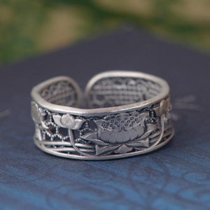 Sterling Silver Lotus Flower OR Phoenix Bird Women's Ring