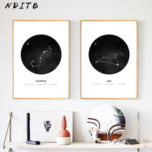 Load image into Gallery viewer, Constellation Wall Art Canvas Poster Prints Astrology Sign