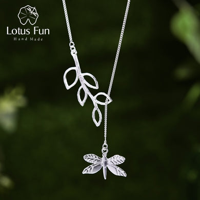 Sterling Silver Dragonfly Leaf Necklace