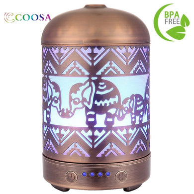 100ML Metal Elephant Design Ultrasonic Aromatherapy Essential Oil Diffuser  and Cool Mist Humidifier