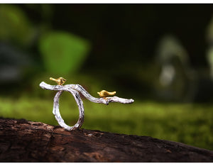 Two Tone Sterling Silver Branch and Bird Ring