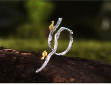 Load image into Gallery viewer, Two Tone Sterling Silver Branch and Bird Ring