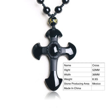 Load image into Gallery viewer, Natural Stone Obsidian Hand Carved Men's Cross Amulet