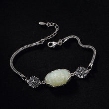 Load image into Gallery viewer, Sterling Silver Jade Flower Bracelet