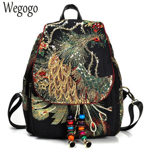 Retro Style Backpack with Peacock Embroidery and Sequins