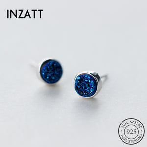 White Gold Plated Sterling Silver Geometric Round Kyanite Stud Earrings