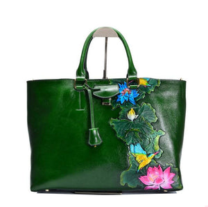 Beautiful Leather Embossed Large Art Handbag