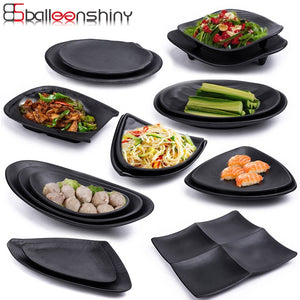 Japanese Style Melamine Outdoor / Indoor Black Frost Serving Dishes.