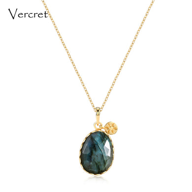 Sterling Silver 18k Gold Plated Labradorite Necklace