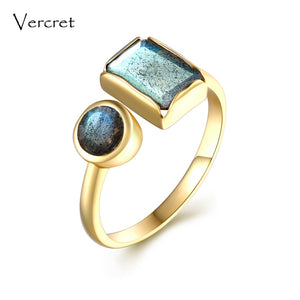 18k Gold Plated Sterling Silver Labradorite Ring