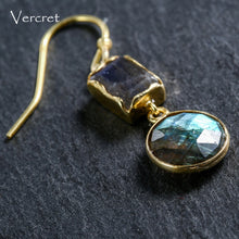 Load image into Gallery viewer, 18k Gold Plated Sterling Silver Labradorite Earrings