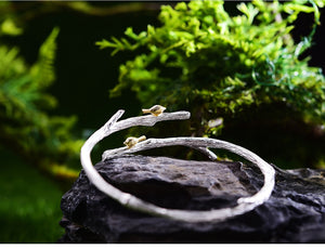 Two Tone Sterling Silver Birds on a Branch Bangle
