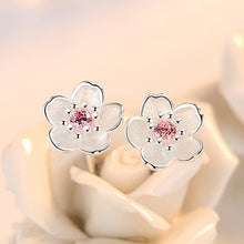Load image into Gallery viewer, Sterling Silver Cherry Blossom Earrings