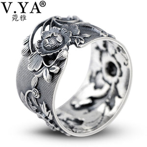 Retro Peony Flower 990 Sterling Silver Ring for Women Adjustable Thai Silver