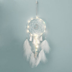 Feathered Dream Catcher Light with Moon Pendant