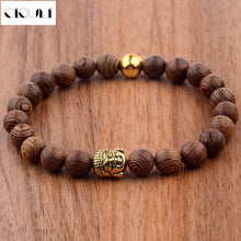 Load image into Gallery viewer, OIQUEI 2018 Buddhist Prayer Metal Buddha Beaded Bracelets Men Jewelry 8mm Wood Beads Bracelet Charm Bangles Pulseras Hombre
