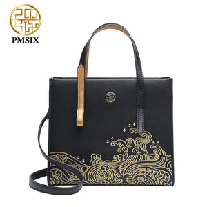 Leather Shoulder Bag with Embroidery