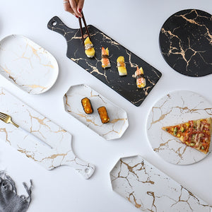 Gold Marbling Design Ceramic Pizza and Sushi Platters