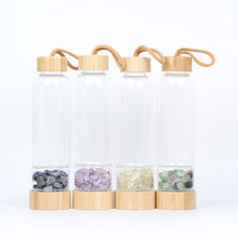 Load image into Gallery viewer, Crystal Infused Water Bottle with Bamboo Lid