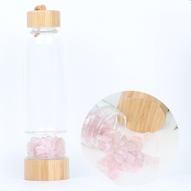 Crystal Infused Water Bottle with Bamboo Lid