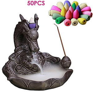 Backflow Incense Burners Dragon or Buddha Design