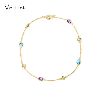 18k Gold Plated Sterling Silver Gemstone Necklace