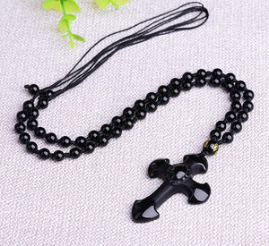 Natural Stone Obsidian Hand Carved Men's Cross Amulet