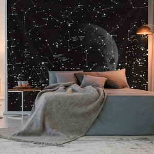 Hanging Moon and Constellation Tapestry