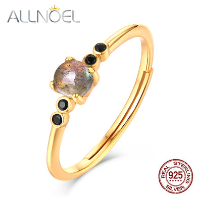 9k Gold Plated Sterling Silver Labradorite Women's Ring