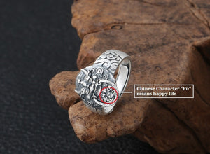 Handmade 990 Silver Fengshui Lion Ring
