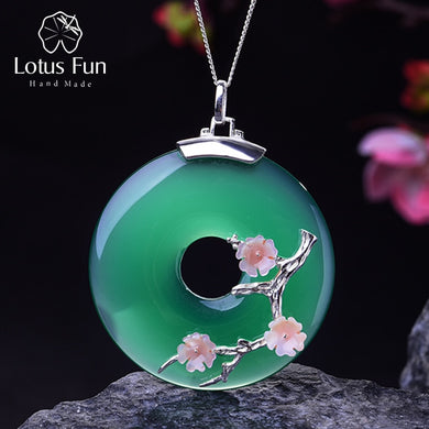 Sterling Silver Green Agate Flower Pendant