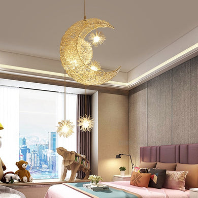 Modern Crescent Moon and Stars Pendant LED Ceiling Lamp